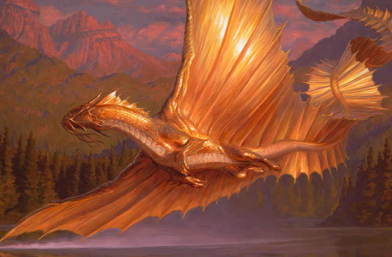 adult gold dragon mtg art